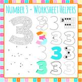 Number 3 Worksheet Helper Clip Art Set for Commercial Use