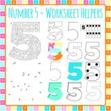 Number 5 Worksheet Helper Clip Art Set for Commercial Use