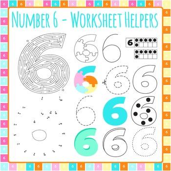 Number 6 Worksheet Helper Clip Art Set for Commercial Use