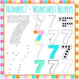 Number 7 Worksheet Helper Clip Art Set for Commercial Use