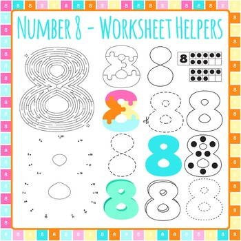 Number 8 Worksheet Helper Clip Art Set for Commercial Use