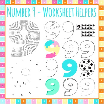 Number 9 Worksheet Helper Clip Art Set for Commercial Use