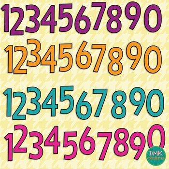 Clipart Numbers 0-9- Brights