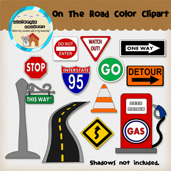 Clipart: On The Road - Road Signs