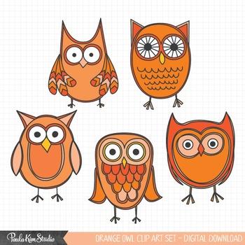 Clipart - Orange Owls
