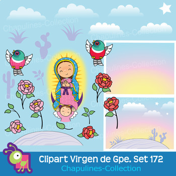 Clipart Our Lady of Guadalupe and St Juan Diego, Virgen de Guadalupe Set 172