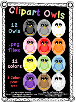 Clipart Owl ***11 Colors & 1 Color-your-own***