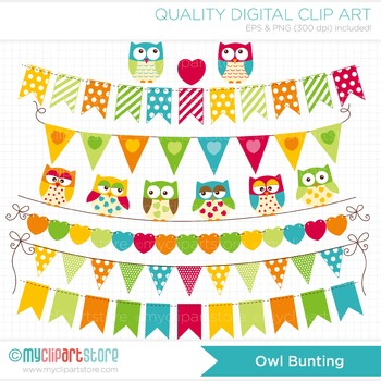 Clipart - Owl Bunting Flags / Bunting Banners