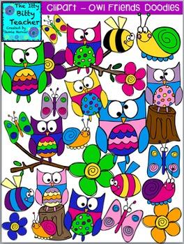 Clipart - Owl Friends Doodles