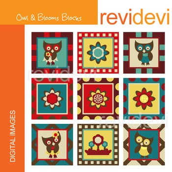 Clipart Owl and Blooms Blocks
