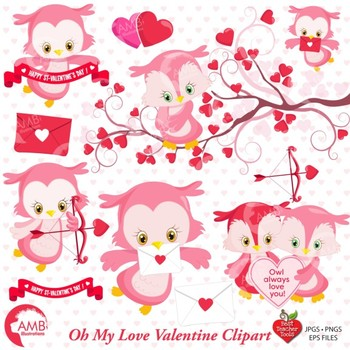 Clipart, Owl clipart, Valentines Day Clipart, Hearts clipart,  AMB-1179