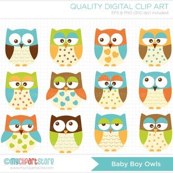 Clipart - Owls For Boys (blue)