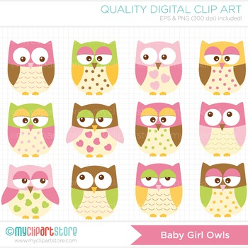 Clipart - Owls For Girls (pink)