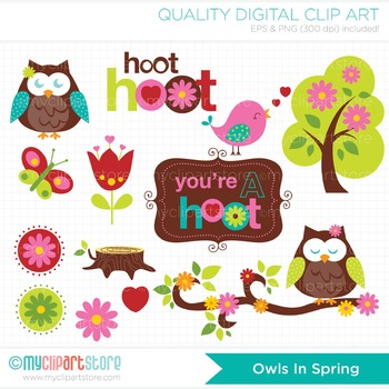 Clipart - Owls In Spring