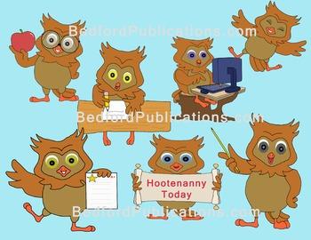 Clipart: Owls at school