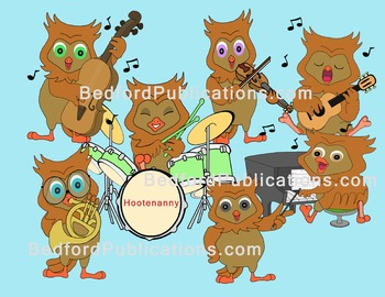 Clipart: Owls making music