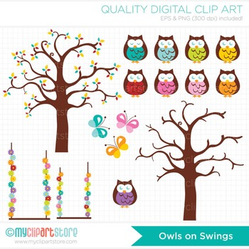 Clipart - Owls on a swing / Curly Tree / Spring