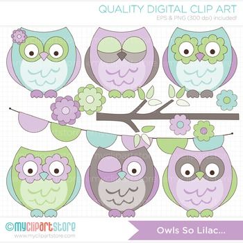 Clipart - Owls so Lilac (lavender / purple, turquoise blue)
