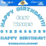 Clipart- Blue Happy Birthday Clip Art. Numbers Clipart. Blue Birthday Clip Art.