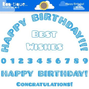 Clipart- Blue Happy Birthday Clip Art. Numbers Clipart. Bl