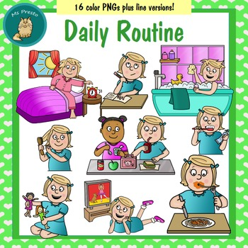 Clip Art PNGs- Daily Routine - Girl