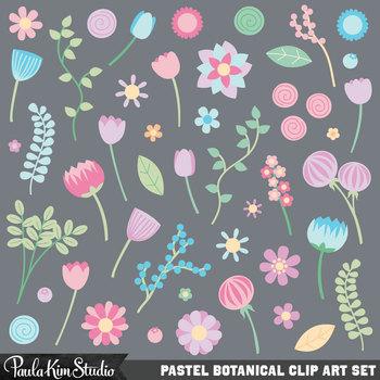 Clipart - Pastel Flowers