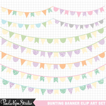 Banner pastel. Clipart glitter bunting banners