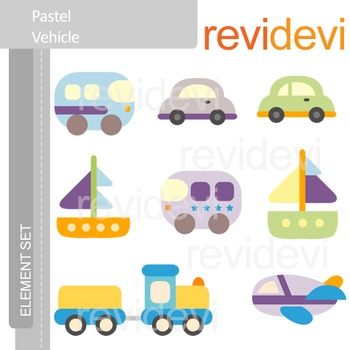 Transportation clip art - Pastel Vehicle (cars, boat, choo choo train, plane)