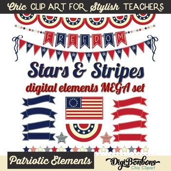 Stars and Stripes Patriotic Clipart Mega Set