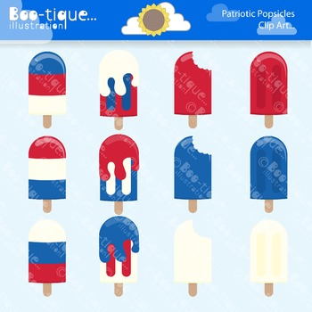 Clipart- Patriotic Popsicles Clip art. Red, White and Blue Popsicles Clipart.