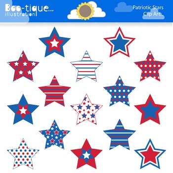 Clipart- Patriotic Stars Digital Clip art. Red, White and Blue Stars Clipart.
