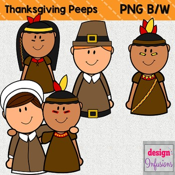 Clipart Peep Kids: Thanksgiving Pilgrims and Indians!