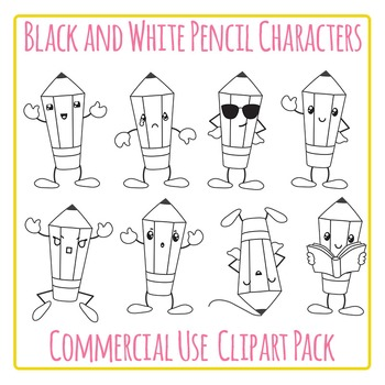 Pencil Characters (Black and White) Clip Art Pack for Commercial Use