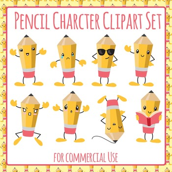 Pencil Characters Clip Art Pack for Commercial Use - Emotions