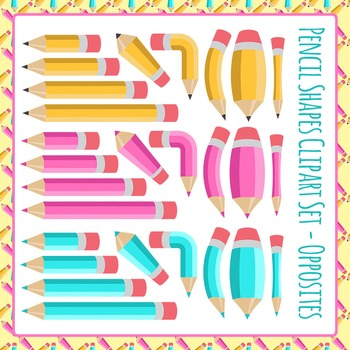 Pencil Shapes - Lengths and Opposites Clip Art Set for Com