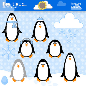 Clipart- Penguins and Snowflakes Clipart. Winter Clip Art. Christmas Clipart