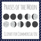 Phases of the Moon or Moon Cycles Clip Art Pack for Commercial Use