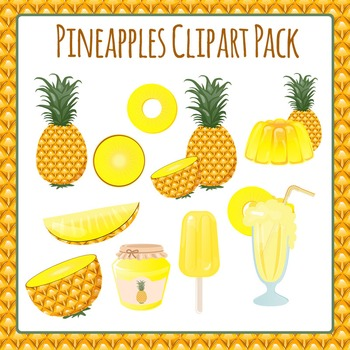 Pineapples Food Tropical Fruit Commercial Use Clip Art Pack