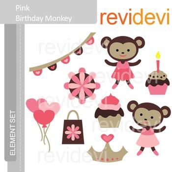 Clipart Pink Birthday Monkeys, clip art E069