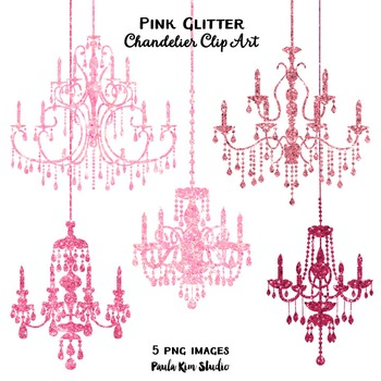 Clipart - Pink Glitter Chandeliers