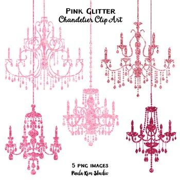 Clipart - Pink Glitter Chandeliers