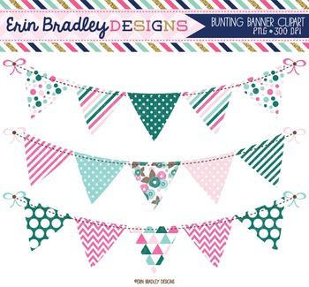 Clipart - Pink Green & Blue Bunting Banner Flags Instant Download Graphics