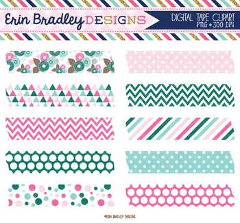 Clipart Pink Green and Blue Digital Tape Frame Clip Art Graphics Commercial Use
