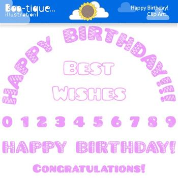 Clipart- Pink Happy Birthday Clip Art. Numbers Clipart. Pi