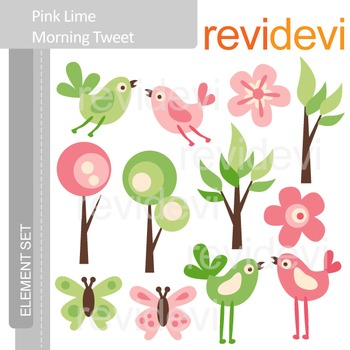 Clipart Pink Lime Morning Tweet E001 (birds, trees, pink, green lime) clip art