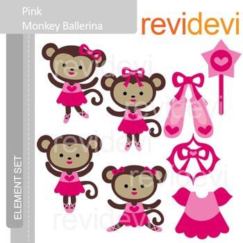 Clipart Pink Monkey Ballerina, Ballet clip art E071