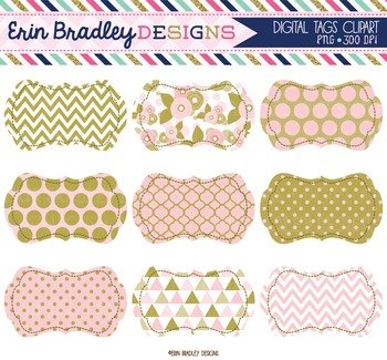 Clipart - Pink and Gold Digital Frame Tags Instant Download Clip Art Graphics