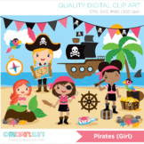 Girl Pirates Clipart, Mermaid, Pirate ship, Treasure (Background included!)