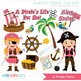 Clipart - A Pirate Party (girl pirates)