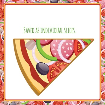 Pizza Fractions - whole, halves, quarters, sixths, eighths & tenths